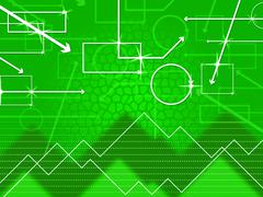 green shapes background shows rectangular oblong and spikes. - stock illustration