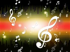 music background shows musical notes and sounds. - stock illustration