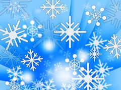 Blue snowflakes background shows weather freezing and winter. Stock Illustration