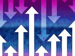 Arrows background means upwards downwards and direction. Stock Illustration