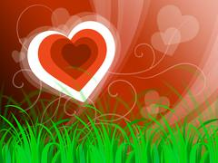 Stock Illustration of hearts background means beautiful landscape or loving nature.