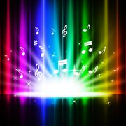 Rainbow curtains background means music songs and stage. Stock Illustration