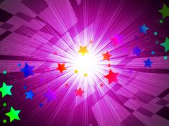 Rainbow stars background means astronomy and light beams. Stock Illustration