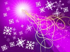 purple squiggles background shows pattern and snowflakes. - stock illustration