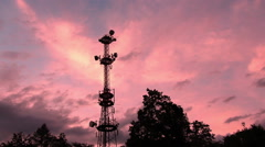 Radio tower, time lapse, zooming in Stock Footage