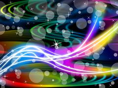Flourescent swirls background means colorful space and bubbles. Stock Illustration