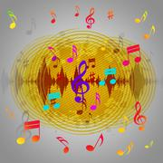 Yellow music background shows records piece or melody. Stock Illustration