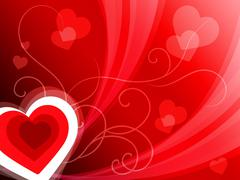 hearts background shows romantic and passionate wallpaper. - stock illustration