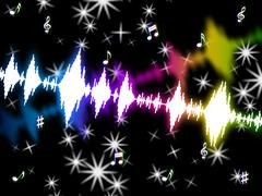 Sound wave shows music soundtrack and volume Stock Illustration