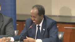 13 of 13  - Broll of Somalian President at end his speaking event Stock Footage