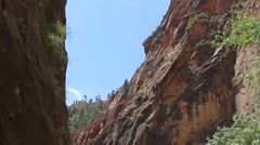 Zion National Park tilt down to tourists in Virgin River Stock Footage
