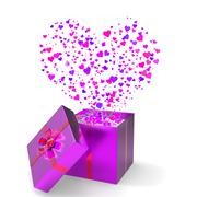 Stock Illustration of heart gift indicates valentines day and gift-box