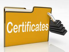 Certificates security indicates private achievement and binder Stock Illustration