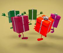 Celebration giftboxes means gift-box occasion and celebrate Stock Illustration