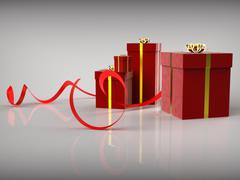 Stock Illustration of celebration giftboxes shows gift-box greeting and wrapped