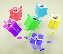 Stock Illustration of celebration giftboxes indicates present wrapped and fun