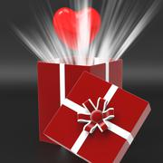giftbox heart shows valentines day and affection - stock illustration