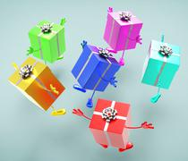 Celebration giftboxes represents celebrations giving and joy Stock Illustration
