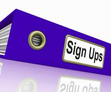 Sign ups shows subscribe business and organized Stock Illustration