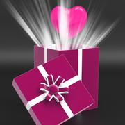 Heart giftbox means valentines day and affection Stock Illustration