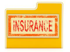 File insurance shows document folder and financial Stock Illustration