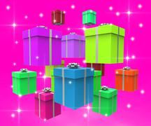 Stock Illustration of giftboxes celebration represents parties party and package