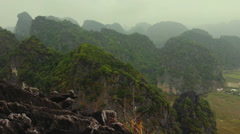 Panoramic view of vietmanese village from mountain top Stock Footage