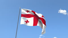 The flag of Georgia Waving on the Wind. Stock Footage