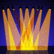 Spotlight background represents floodlight backdrop and entertainment Stock Illustration