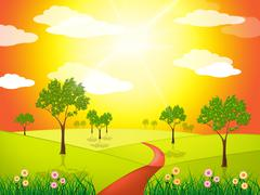 Stock Illustration of grass countryside indicates solar scene and sunny