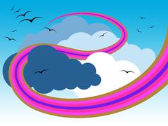 background clouds means flock of birds and abstract - stock illustration