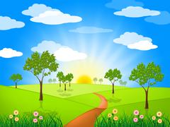 sun rays means radiate sunburst and landscape - stock illustration