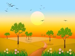 Sun countryside shows green grass and environment Stock Illustration