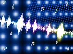 Sound wave shows backgrounds music and soundtrack Stock Illustration