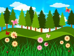 Stock Illustration of countryside trees represents woods branches and meadow