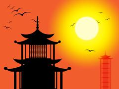 pagoda silhouette indicates zen buddhism and worship - stock illustration