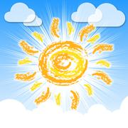 Stock Illustration of sun rays means summer time and warm