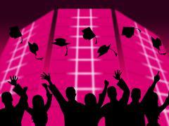 Education graduation shows educating graduates and graduate Stock Illustration