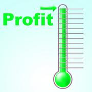 Profit thermometer represents profitable income and thermostat Piirros