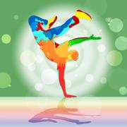 break dancing represents disco music and dance - stock illustration