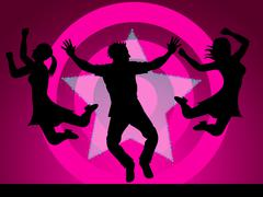 excitement disco represents nightclub activity and party - stock illustration