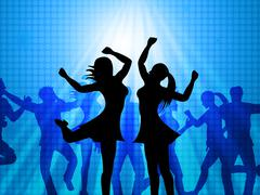 Women dancing represents disco music and adults Stock Illustration