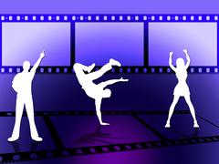 Filmstrip dancing indicates disco music and border Stock Illustration