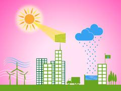 solar panel shows energy source and downtown - stock illustration