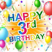 Birthday third indicates happiness congratulating and celebration Stock Illustration
