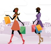 Women shopper shows commercial activity and adults Stock Illustration