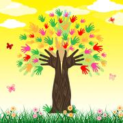 growth hands means artwork colorful and develop - stock illustration
