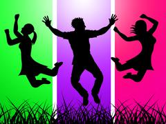 Stock Illustration of excitement jumping indicates green grass and excited