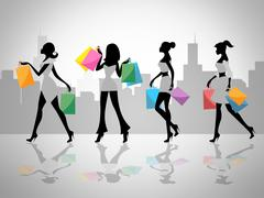 shopping women shows retail sales and adult - stock illustration