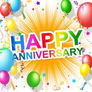 Happy anniversary means greeting congratulating and party Stock Illustration
